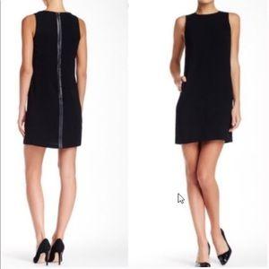 VINCE Sheath Dress Leather Trim Black Sz 2